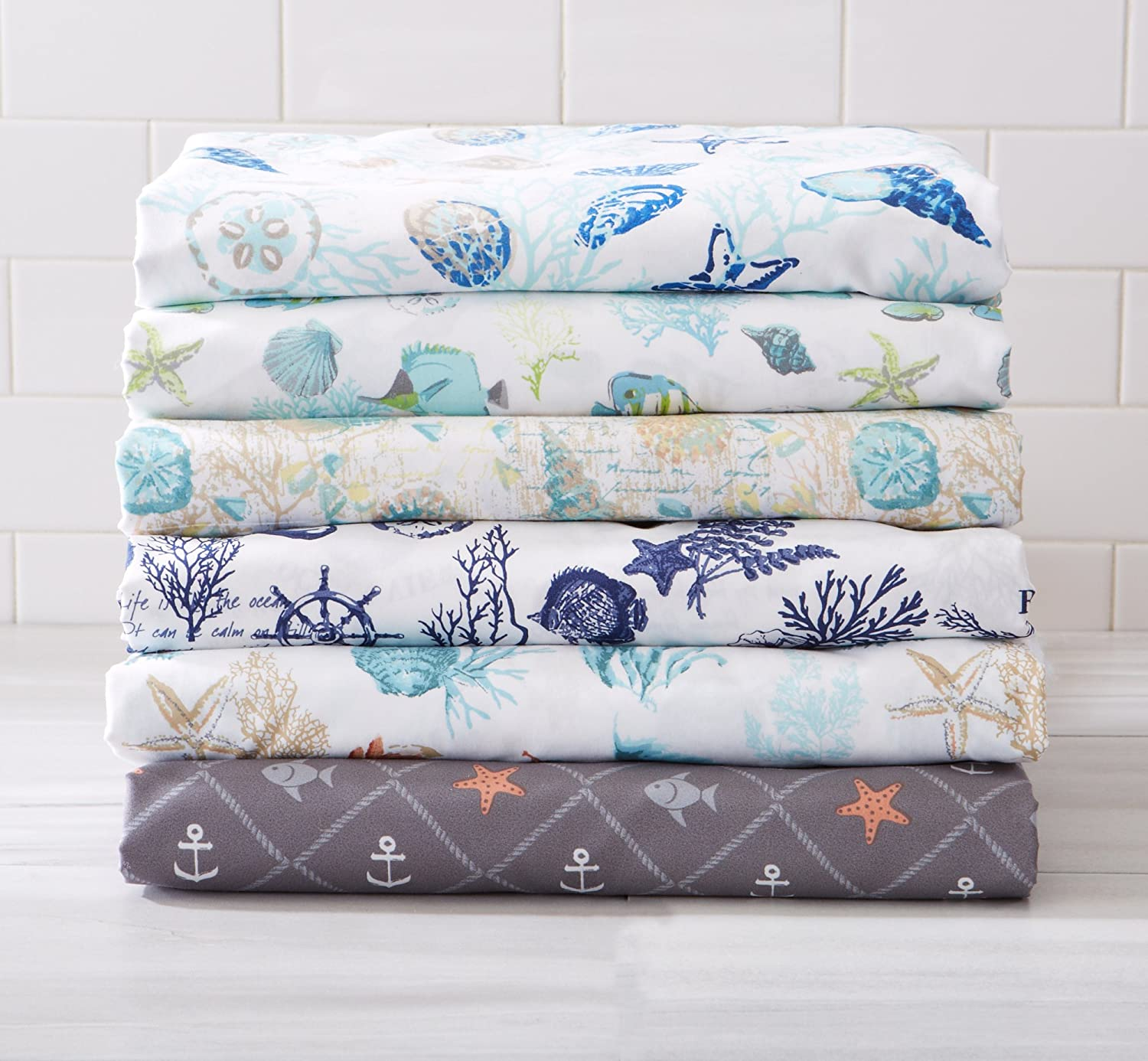 Ultra-Soft Double-Brushed Coastal Printed Microfiber Sheet Set