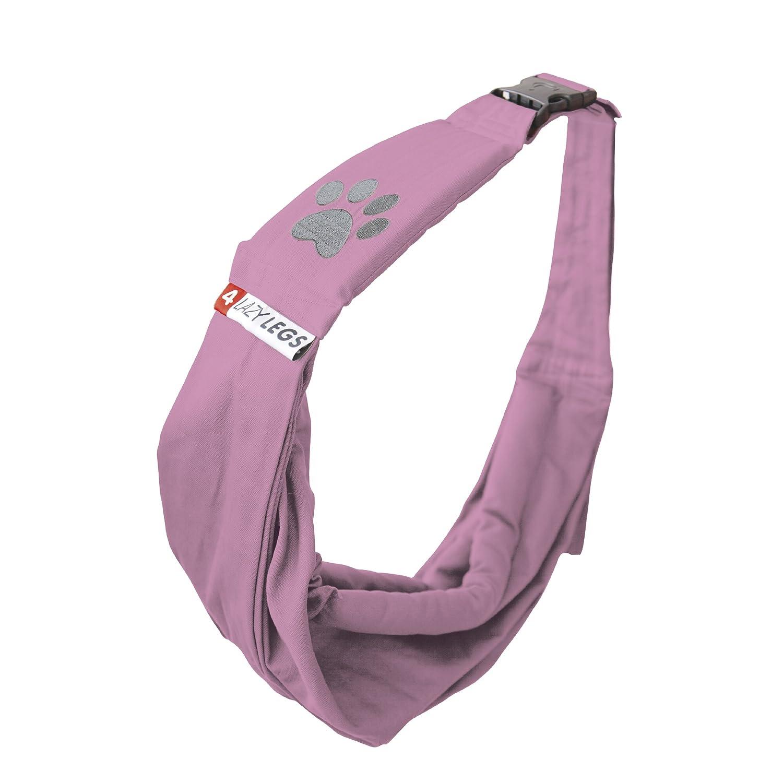 4 Lazy Legs Adjustable Pet Sling Carrier, Carrier for Dog, Soft Pink