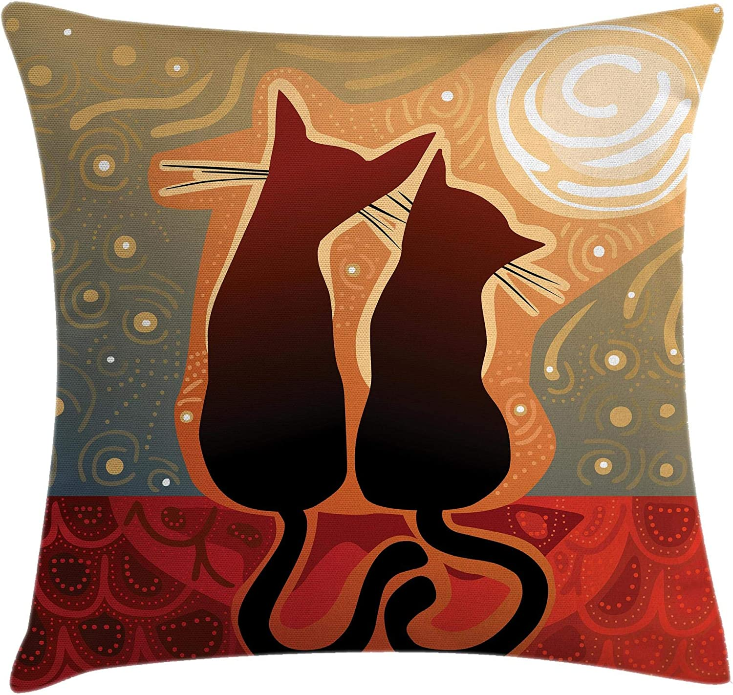 """Ambesonne Animal Throw Pillow Cushion Cover, Female and Male Cats in Love Watching Moon Luna on Starry Sky Print, Decorative Square Accent Pillow Case, 18"""" X 18"""", Green Orange"""