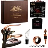 Rabbit Wine Opener Corkscrew BEST Wine Bottle Opener - 7 Piece Rabbit Ear Bundle with Stand, Bottle Plug, Wine Aerator, Drip Ring, Foil Cutter & EXTRA Teflon Spiral + Wooden Box Perfect Gift Set