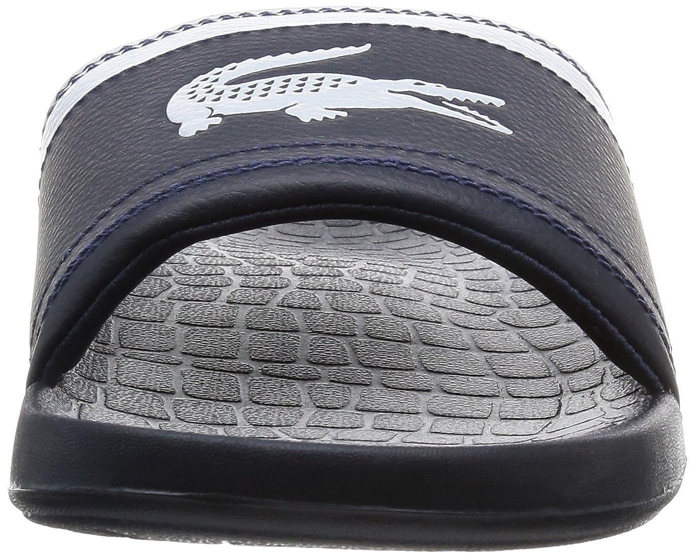 90cc07796c43a7 Amazon.com  Lacoste Men s Fraisier BRD1 Leather Synthetic Slip On Slide  Dark Blue-Navy-7  Clothing