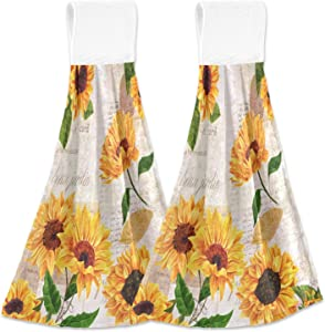 Yellow Vintage Sunflowers Hanging Kitchen Towel 2 Pack Summer Retro Floral Soft Coral Velvet Hand Towels with Loop for Bathroom Dish Tie Towel Absorbent Tea Towels