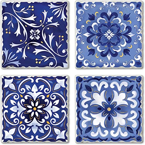 Free Shipping in US Resin Coaster Set of 4 on Ceramic Tile