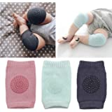 Baby Knee Pads 3 Pairs Infants Crawling Anti-Slip Knee Protection Toddler Breathable Knee Safety Protector Unisex design Adjustable Knee Elbow pink black Light blue