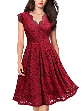 a25917d3f9 MISSMAY Women s Vintage Floral Lace Short Sleeve V Neck Cocktail Formal  Swing Dress