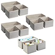 mDesign Soft Fabric Dresser Drawer and Closet Chevron Storage Organizer Set for Child/Baby Room, Nursery, Playroom - Organizing Bins in 2 Sizes - Set of 12, Zig Zag Geometric Pattern in Taupe/Natural