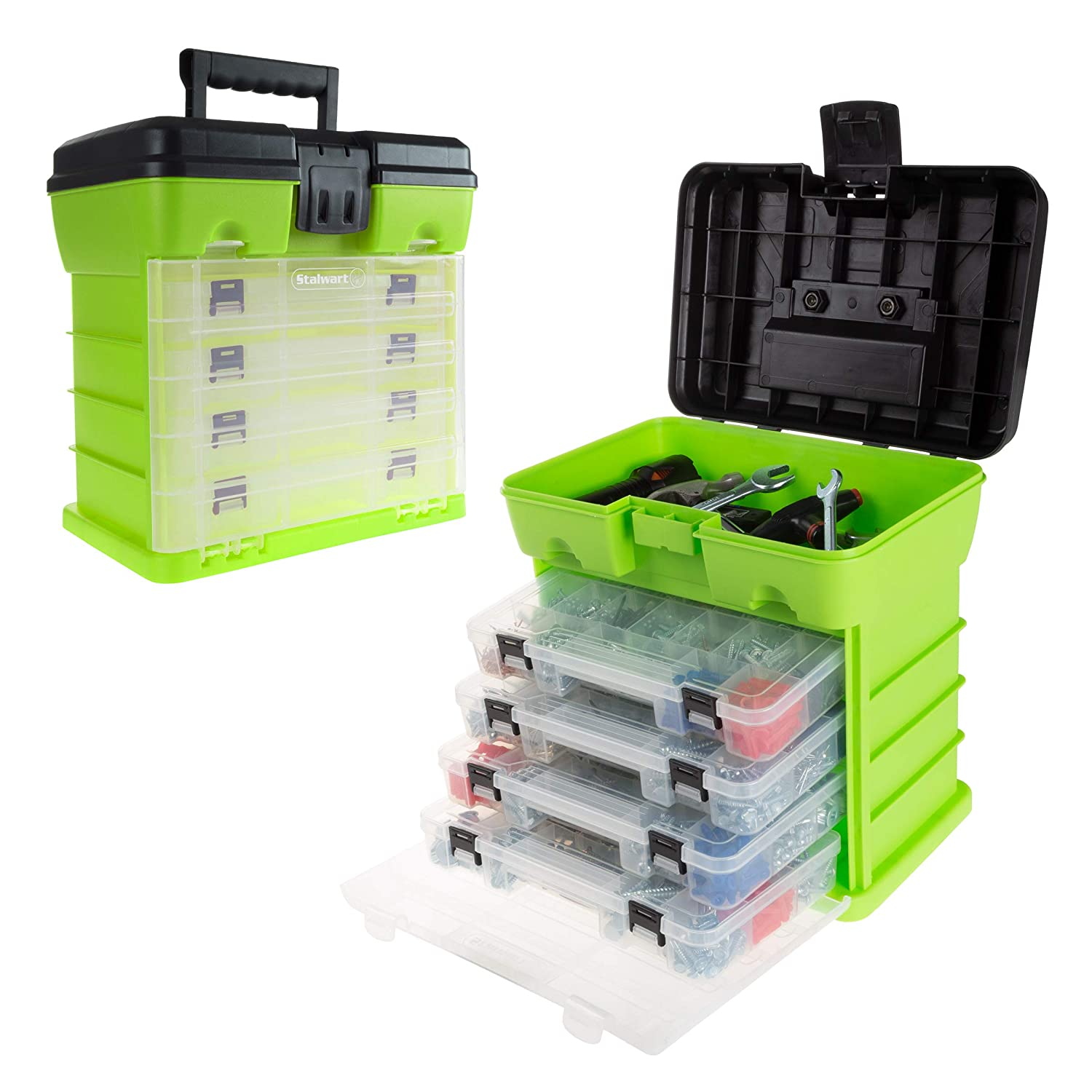 Storage and Tool Box Durable Organizer Utility Box 4 Drawers with 19 Compartments Each for Hardware Fish Tackle Beads and More by Stalwart Green