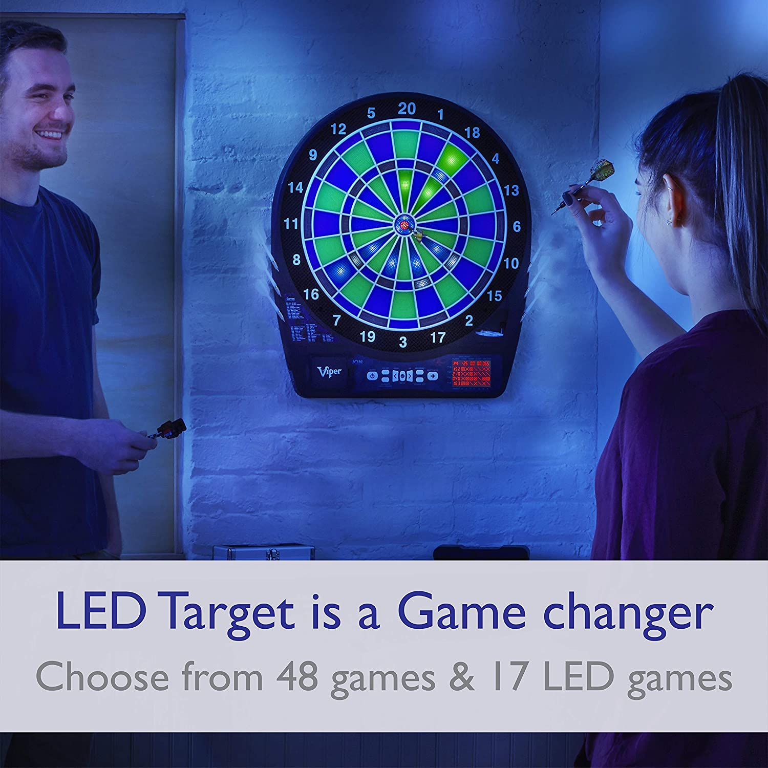 Viper Ion Electronic Dartboard, Illuminated Segments, Light Based Games, Green And Blue Segment Colors, Ultra Thin Spider to Increased Scoring Area, Target Tested Tough Segment For Enhanced Durability : Sports & Outdoors
