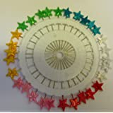 Plastic Headed Extra Long Pins - Assorted Colours - Stars