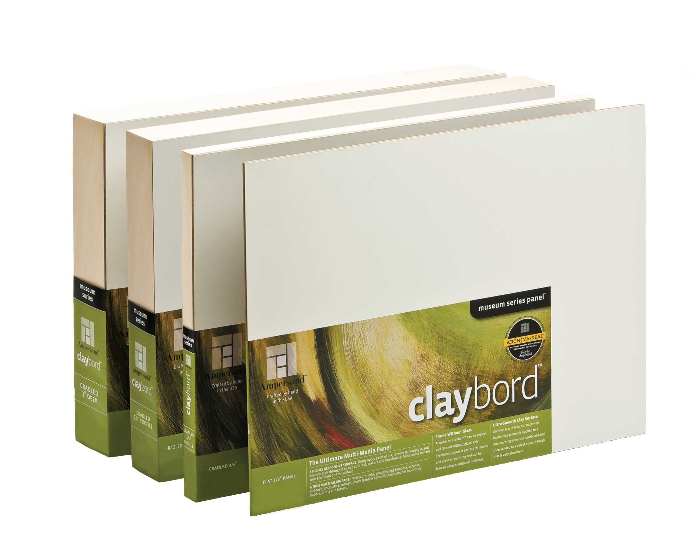 Ampersand Museum Series Claybord Panels for Paint and Ink, 1.5 Inch Depth Cradled, 24X36 Inch (CBSCG2436)