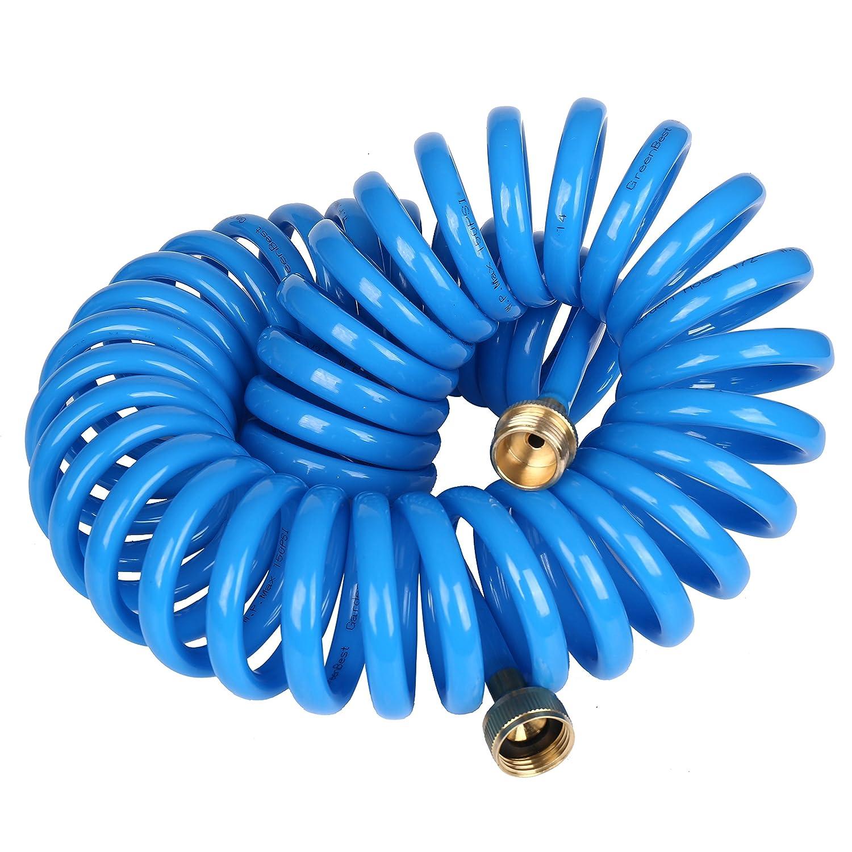 PU High Recoil Memory Garden Hose,Enviremnetal Friendly + Lead Free  Polyurethane Hose, Brass Connector And Sprayer, Sky Blue Color Coil Hose  (50FT)