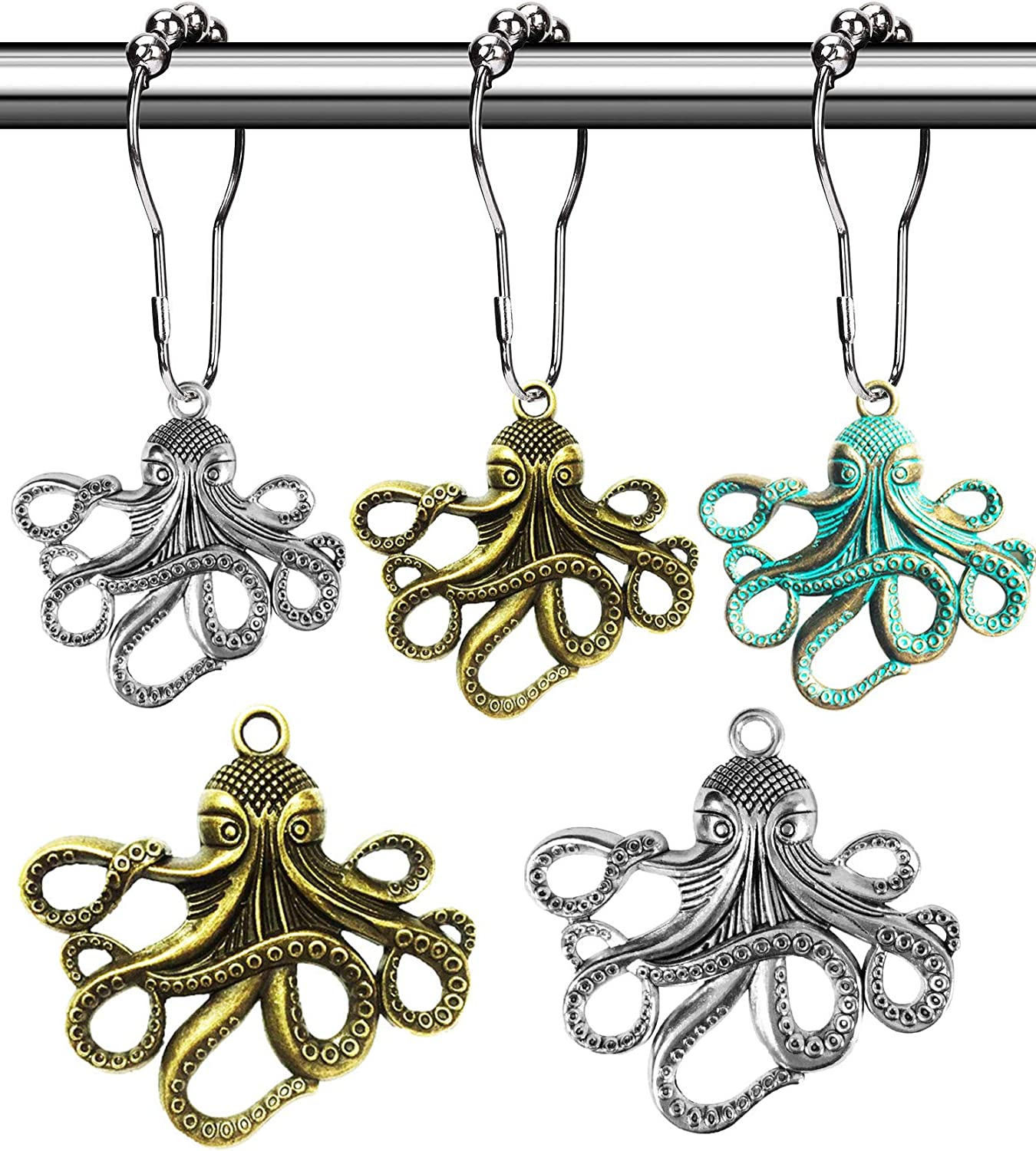 Aimoye Octopus Decorative Shower Curtain Hooks - Rust Proof Brushed Nickel Rings with Octopus Accessories Set Decorate Bathroom with Ocean, Beach, Sea, Nautical Theme (Colorful, 12PCS)