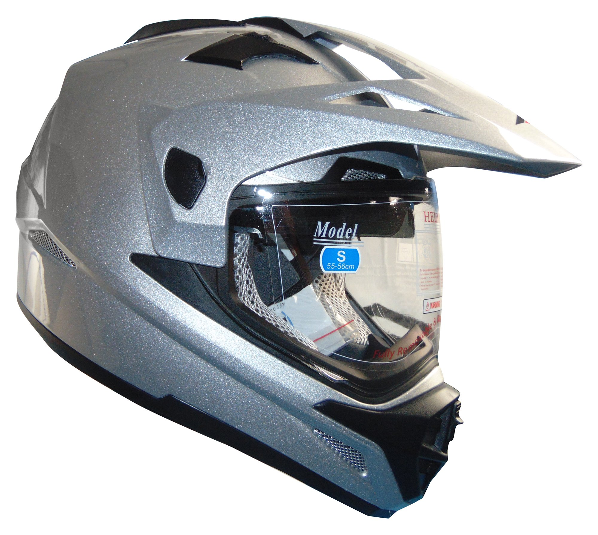 Stealth Cross Tour Dual Sport Helmet (Silver, X-Large)