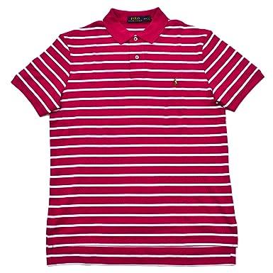 Polo Ralph Lauren Mens Medium Fit Striped Interlock Polo Shirt (Small,  Aruba Pink)