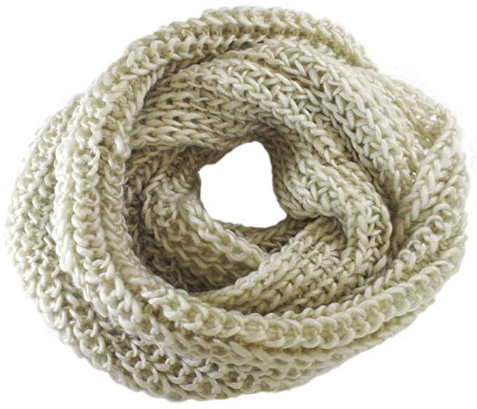 ac69936b84864 queenneeup Women's Knit Infinity Scarf One Size Neck Warmer Muffler  Neck-wrap (Beige)