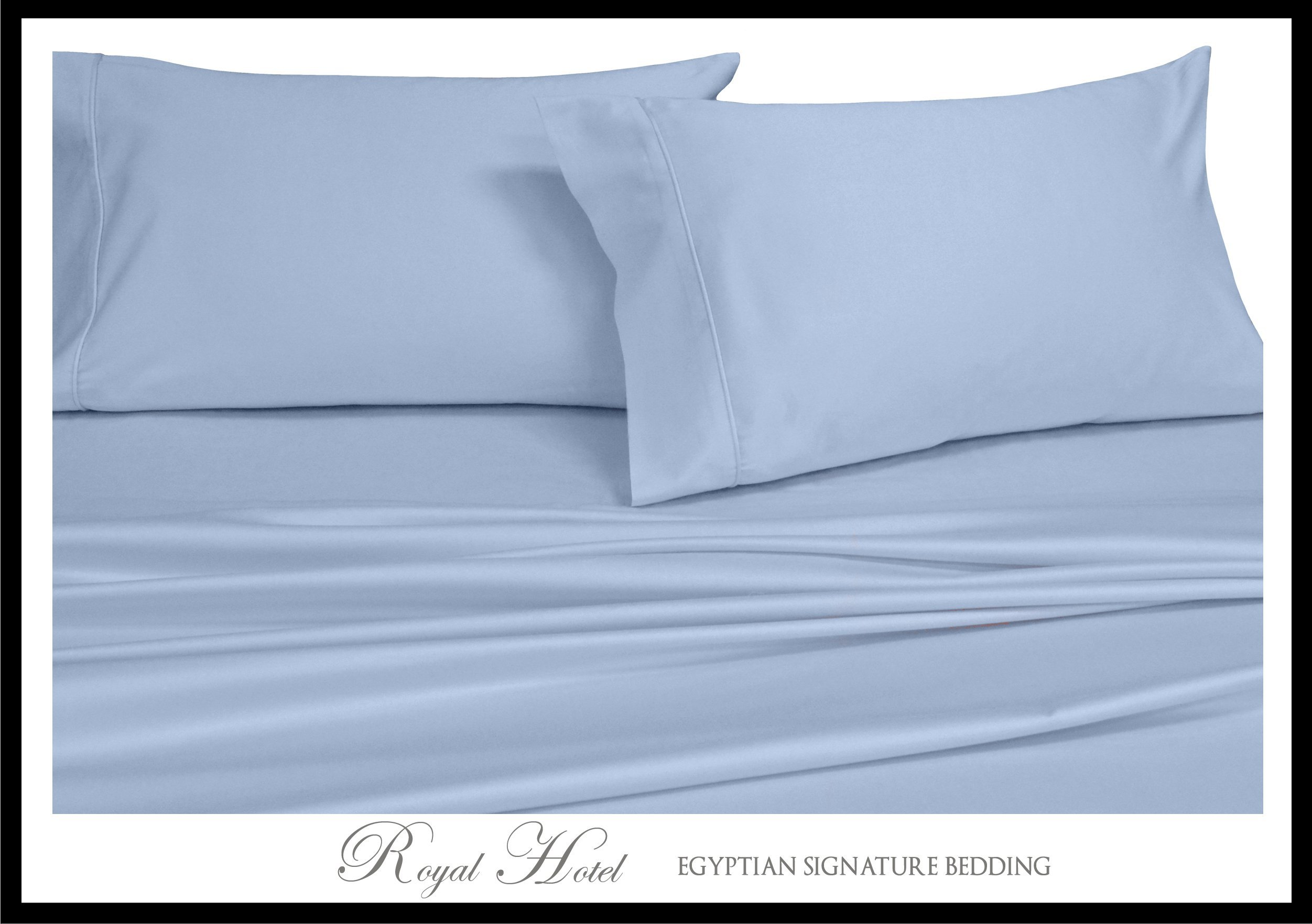 Top-Split-King: Adjustable King Bed Sheets 4PC Solid Blue 100% Cotton 600-Thread-Count, Deep Pocket