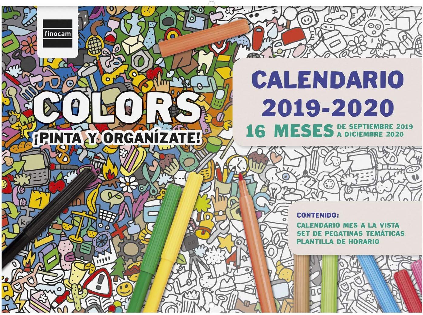 Calendario de pared 16 meses 2019-2020 español Colors Finocam ...