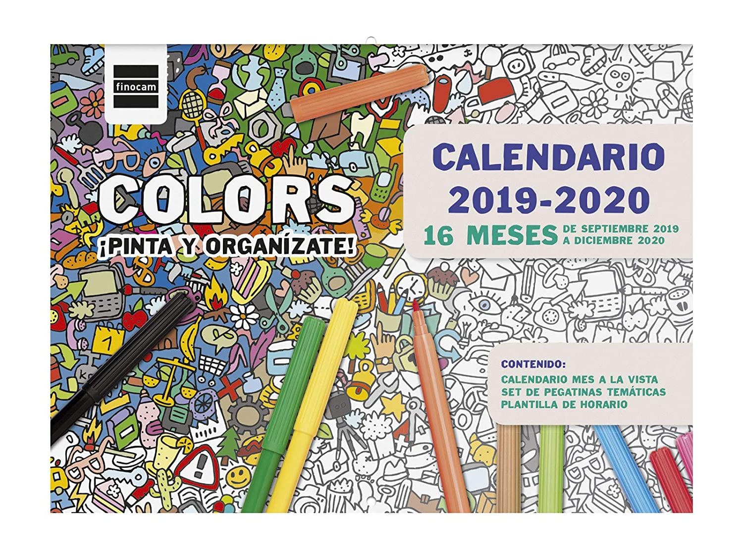 Calendario Mes De Diciembre 2020.Calendario De Pared 16 Meses 2019 2020 Espanol Colors Finocam