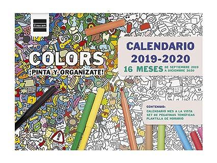Calendario Spagnolo.Calendario Da Parete 16 Mesi 2019 2020 Spagnolo Amazon It