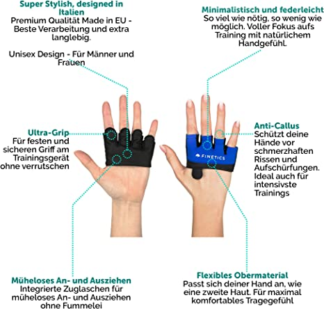 Made in EU Crosstraining Handschuhe Designed in Italy Kettlebell Fitnessstudio Kurzfingerhandschuh f/ür Damen und Herren Gym Perfekt f/ür Krafttraining Premium Crossfit Sporthandschuhe