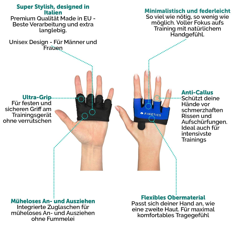 Gym Premium Crossfit Sporthandschuhe Kurzfingerhandschuh f/ür Damen und Herren Made in EU Crosstraining Handschuhe Designed in Italy Kettlebell Fitnessstudio Perfekt f/ür Krafttraining