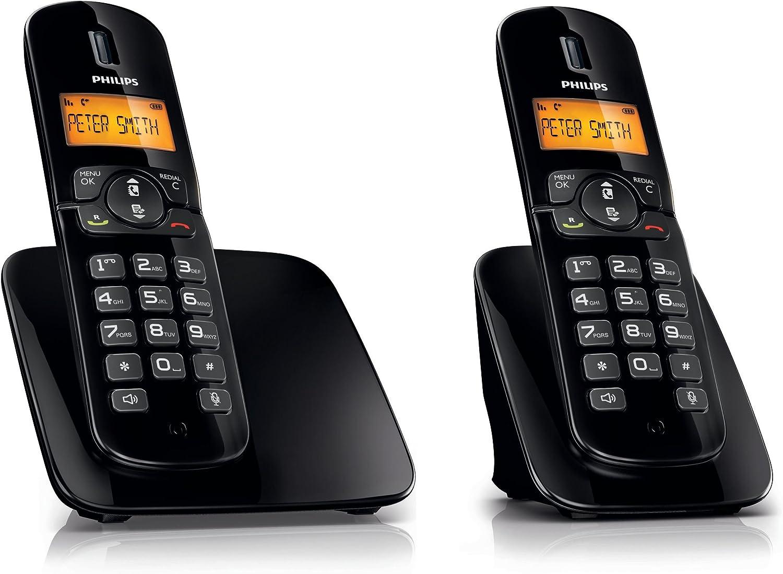 Philips CD1812B/ES Teléfono inalámbrico BeNear Duo (negro): Amazon.es: Electrónica
