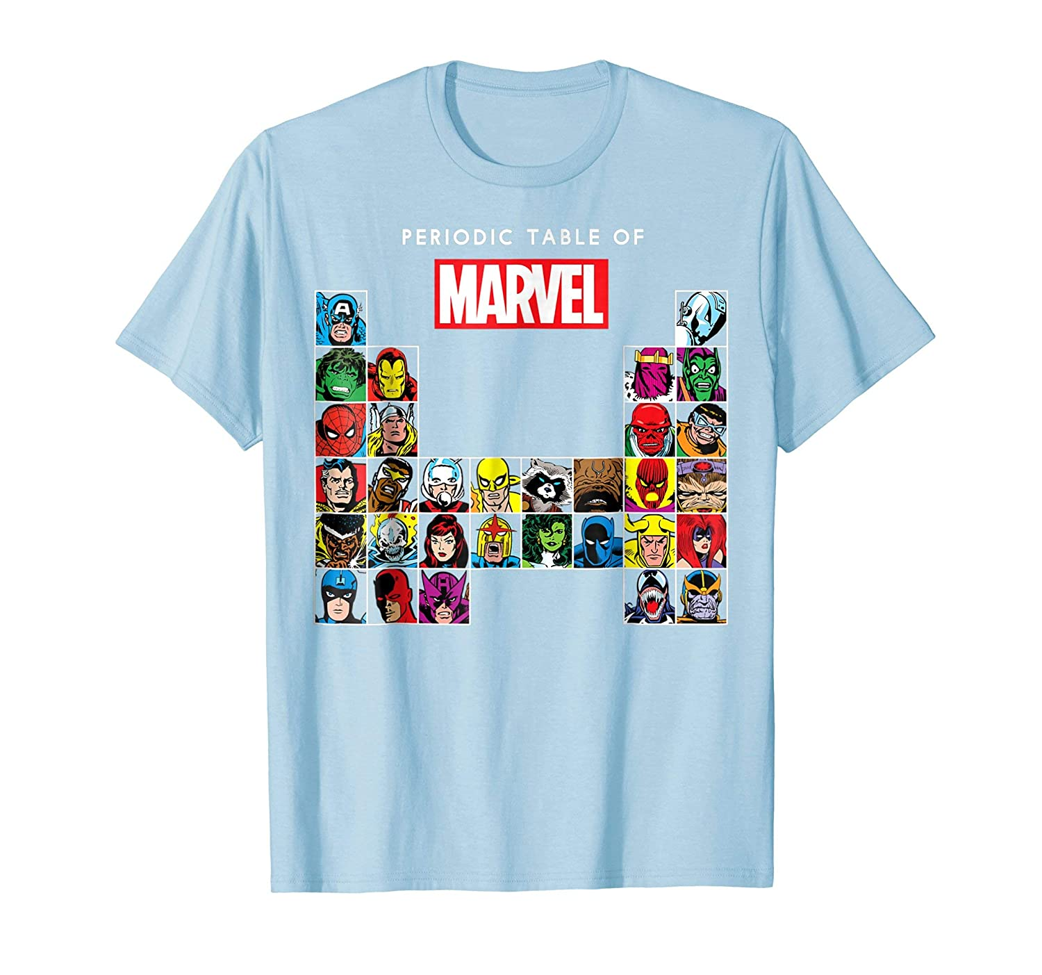 Periodic Table Of Heroes & Villains Retro T Shirt-Bawle