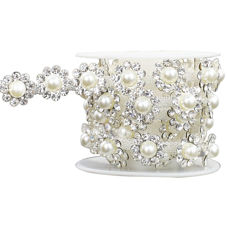 Shinytime strass visiera 0, 9 m da cucire floreale forma plastica perla strass fascia Trim per abbigliamento decorazioni San Valentino a tema abbellimenti XIAOTAI