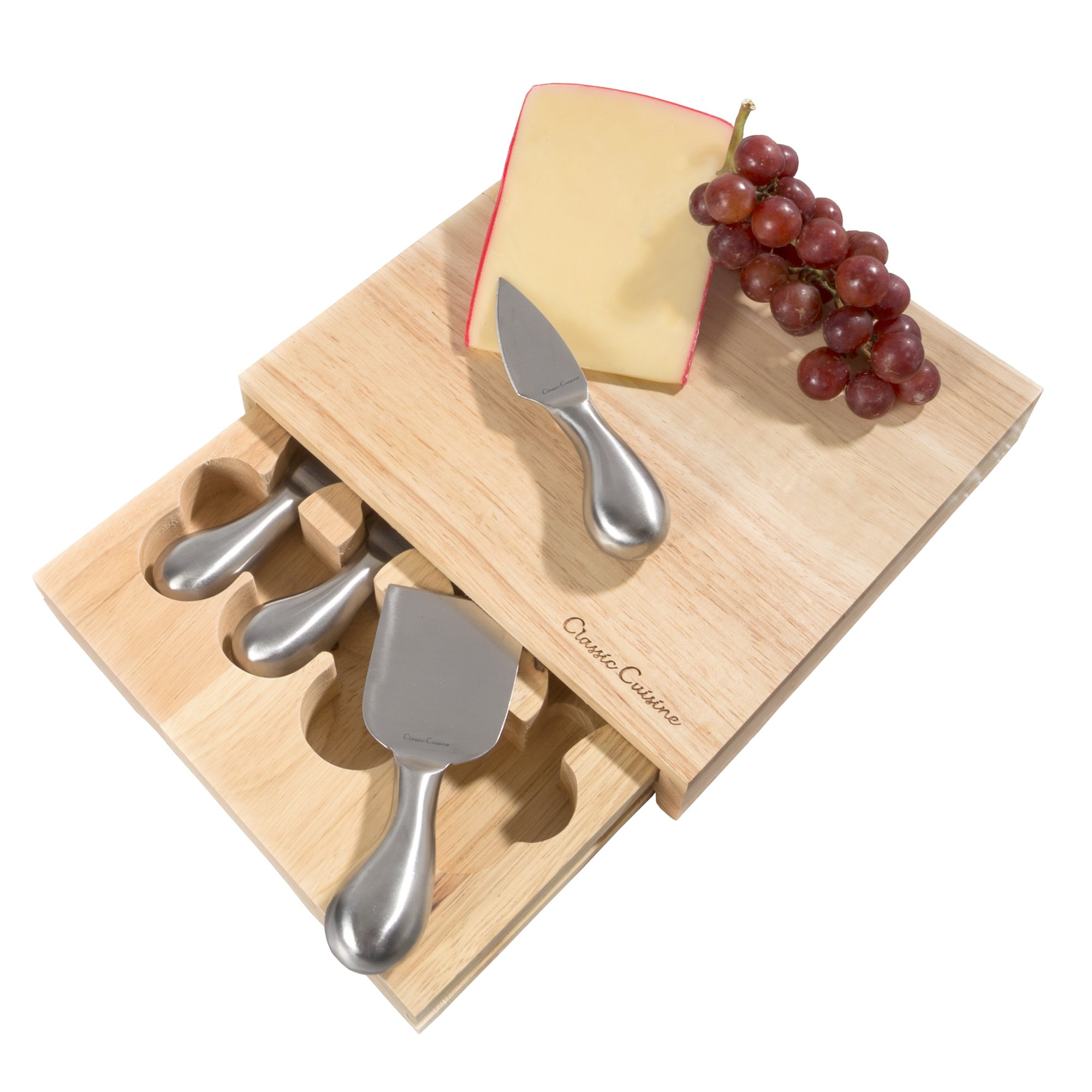 Cheese Board 5 piece Set with Stainless Steel Tools and Wood Cutting Block for Every day, Entertaining, Picnics, Gifts 8.6 x 8.25 by Classic Cuisine