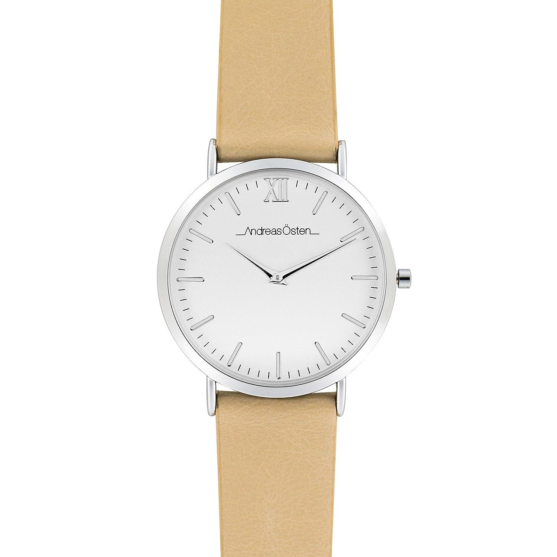 Andreas Osten (Oste) Damen Silber LÜnette beige Leder Armbanduhr A0–150
