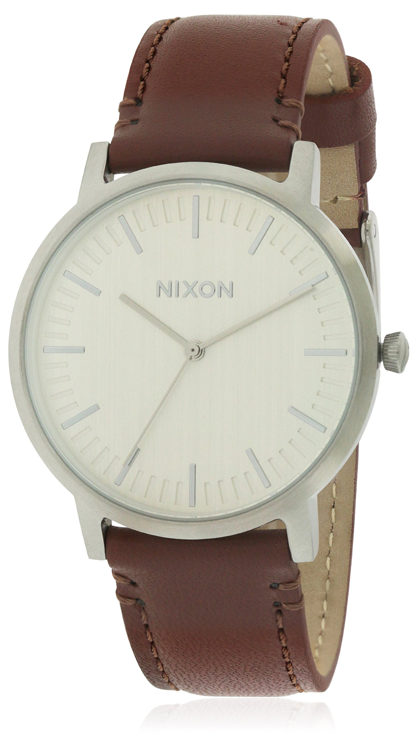 Nixon Porter Leather Silver / Brown Leather Strap Men's Watch A1058-1113