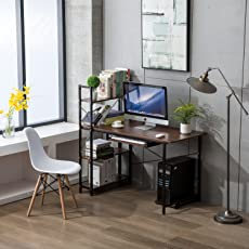 long home office desk. Office Desktop Laptop Computer Compact Desk With 4 Shelves, Home Study Writing Table Storage Long 2