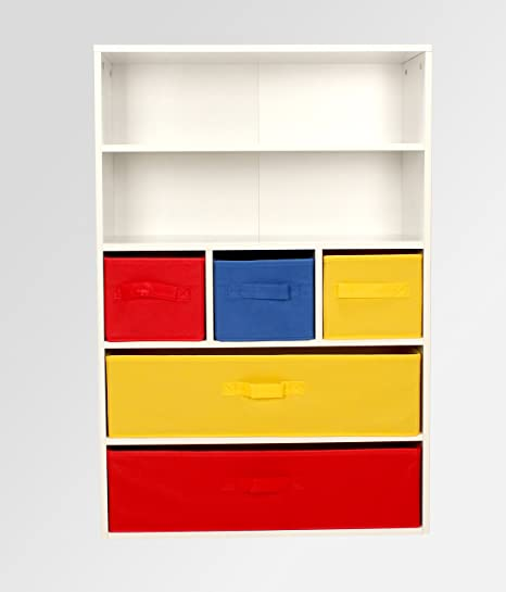 Children Bookcase Kids Toy Storage Wooden Cabinet With Display Shelves And  Canvas Boxes Chest Of Drawers
