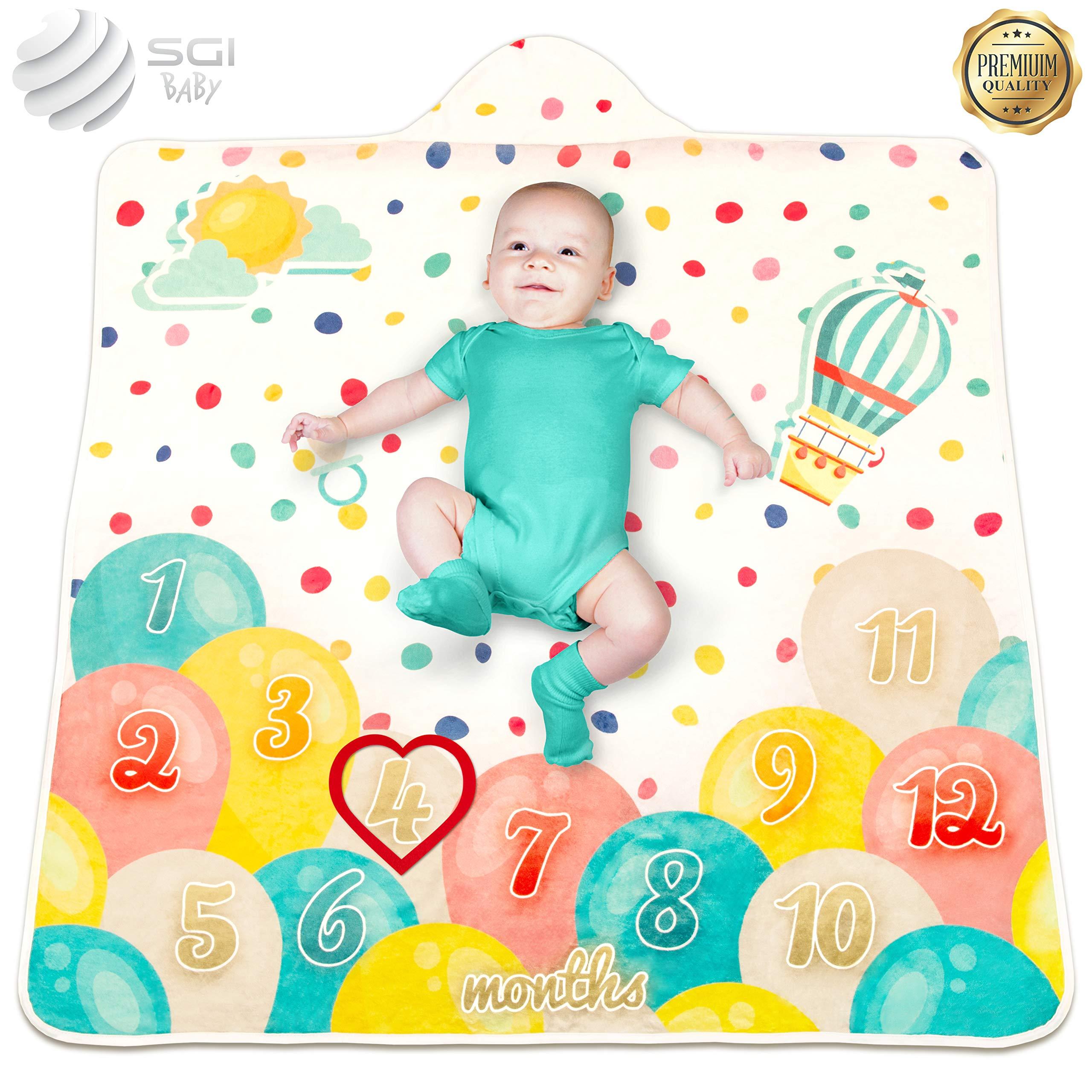 "2 in 1 - Baby Milestone Blanket - Organic Hooded Towel – Unisex Unique Monthly Blanket - Newborn Gift – 47"" x 47"""