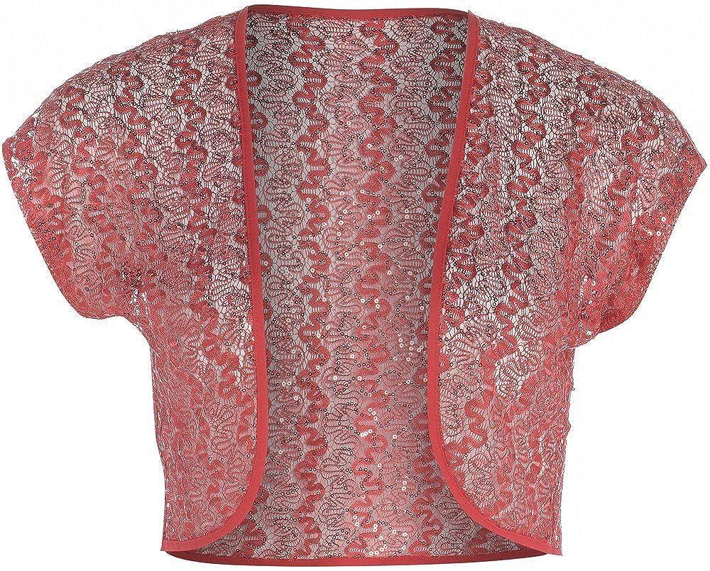 Women's Plus Size Crochet Lace Sequins Cap Sleeve Shrug