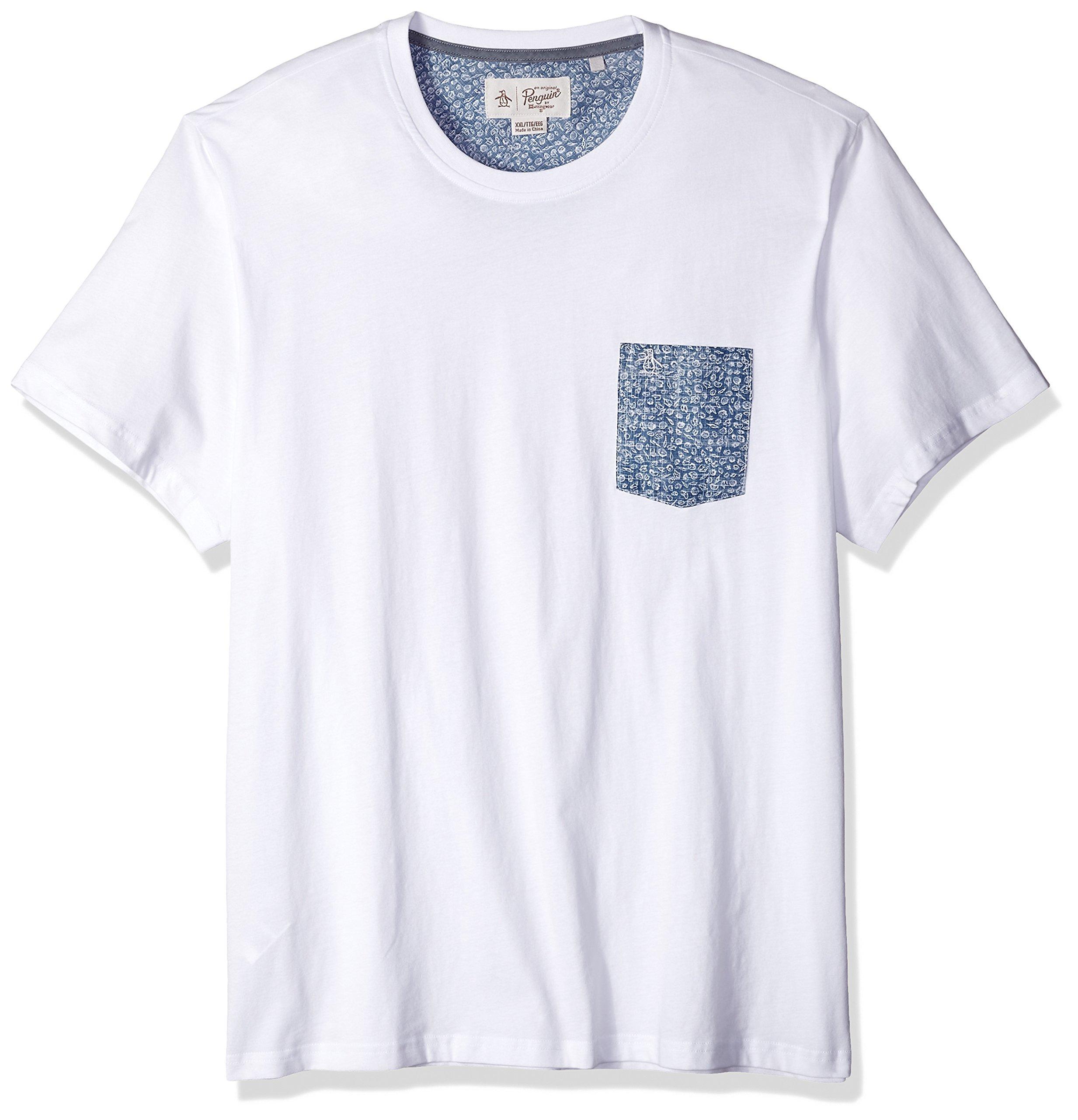 Original Penguin Men's Short Sleeve Shell Print Pocket Tee, Bright White, Extra Large