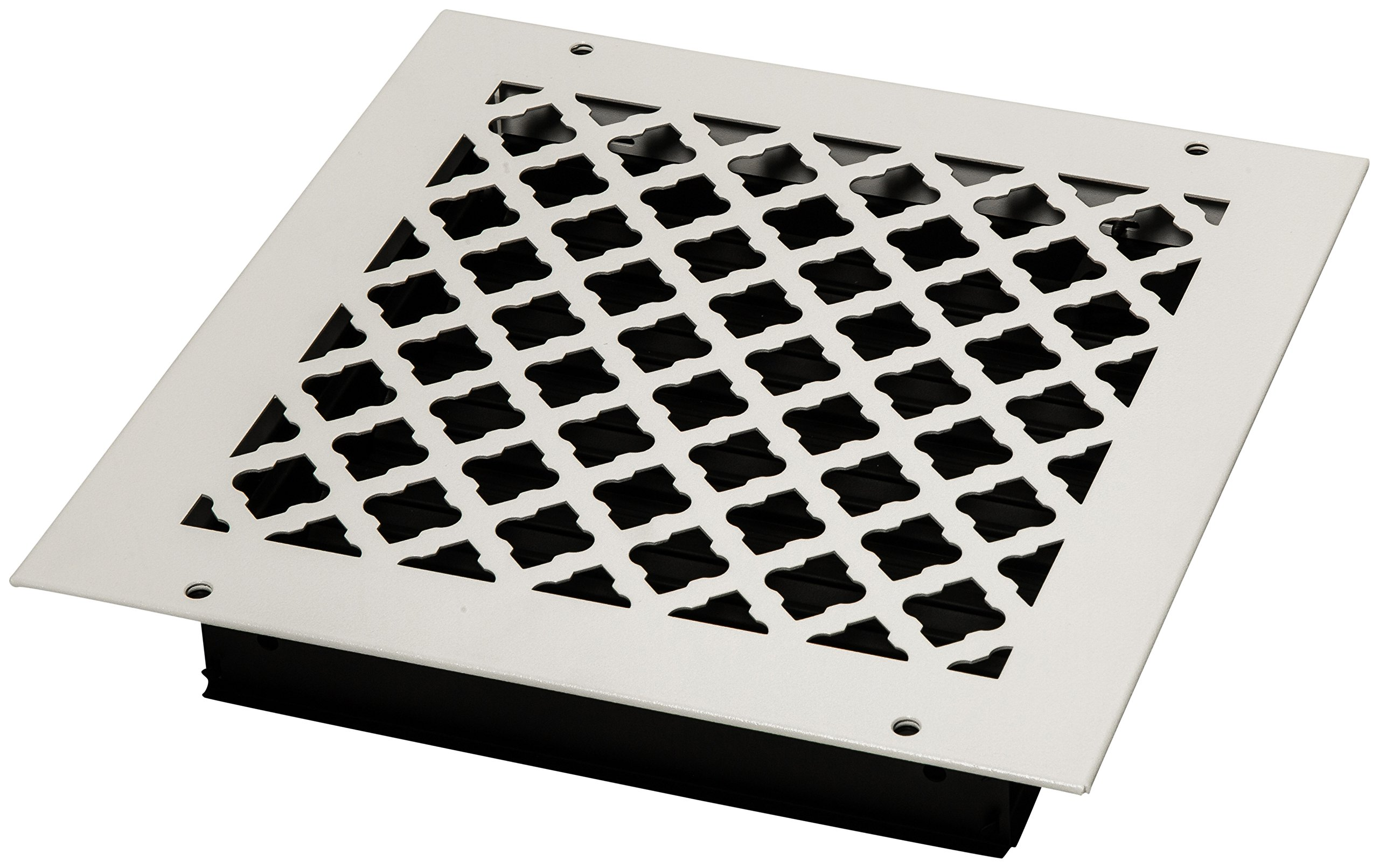 SteelCrest BTU10X10SWHH Bronze Series Designer Wall/Ceiling Vent Cover, with Air-Volume Damper, and Mounting Screws, White