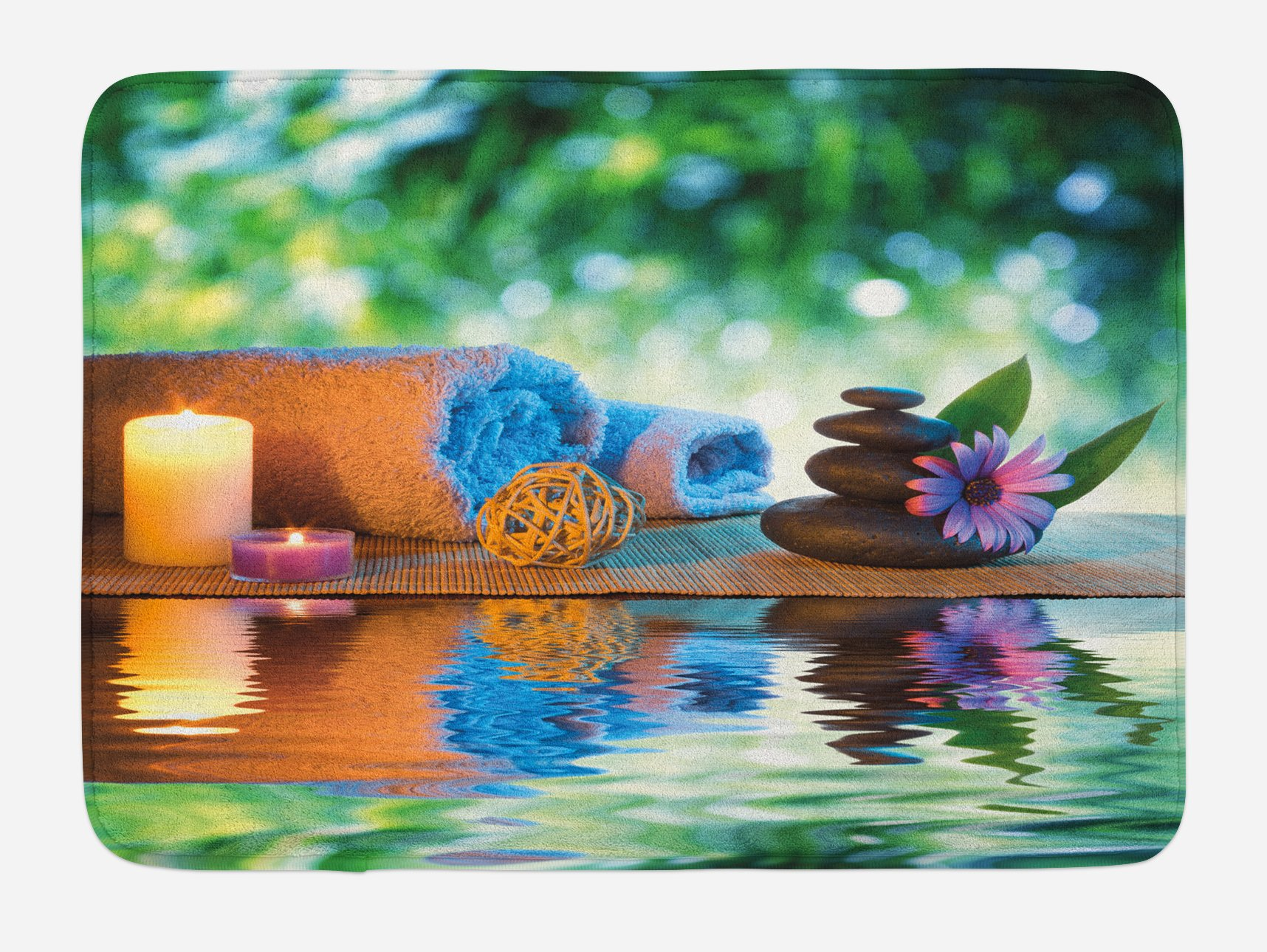 Lunarable Spa Bath Mat, Asian Culture Inspiration Chinese Japanese Candles Zen Meditation Stones, Plush Bathroom Decor Mat with Non Slip Backing, 29.5 W X 17.5 W Inches, Green Orange Lavander