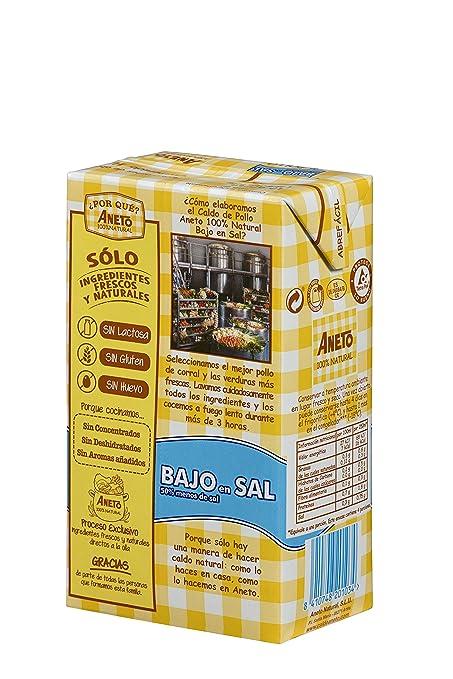 Aneto 100% Natural - Caldo de Pollo Bajo Sal - caja de 6 unidades ...