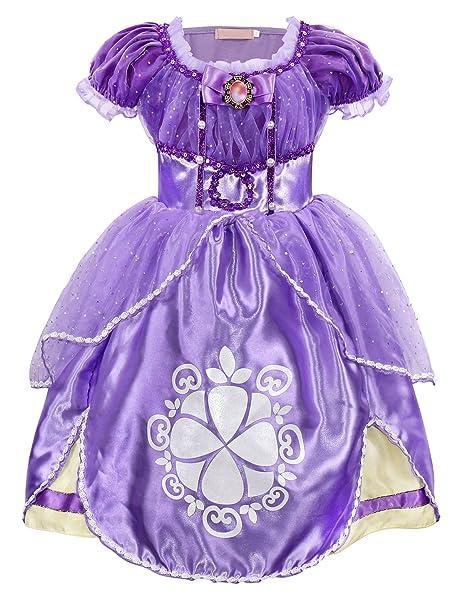 4f34cc3a5 AmzBarley Sofia Princess Dress Birthday Party Costume Kids Halloween ...
