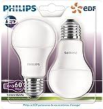 Philips - Lot de 2 Ampoules LED Standard - Culot E27 (Grosse Vis) - 9W Consommés - Équivalent 60W - Partenariat Philips/EDF