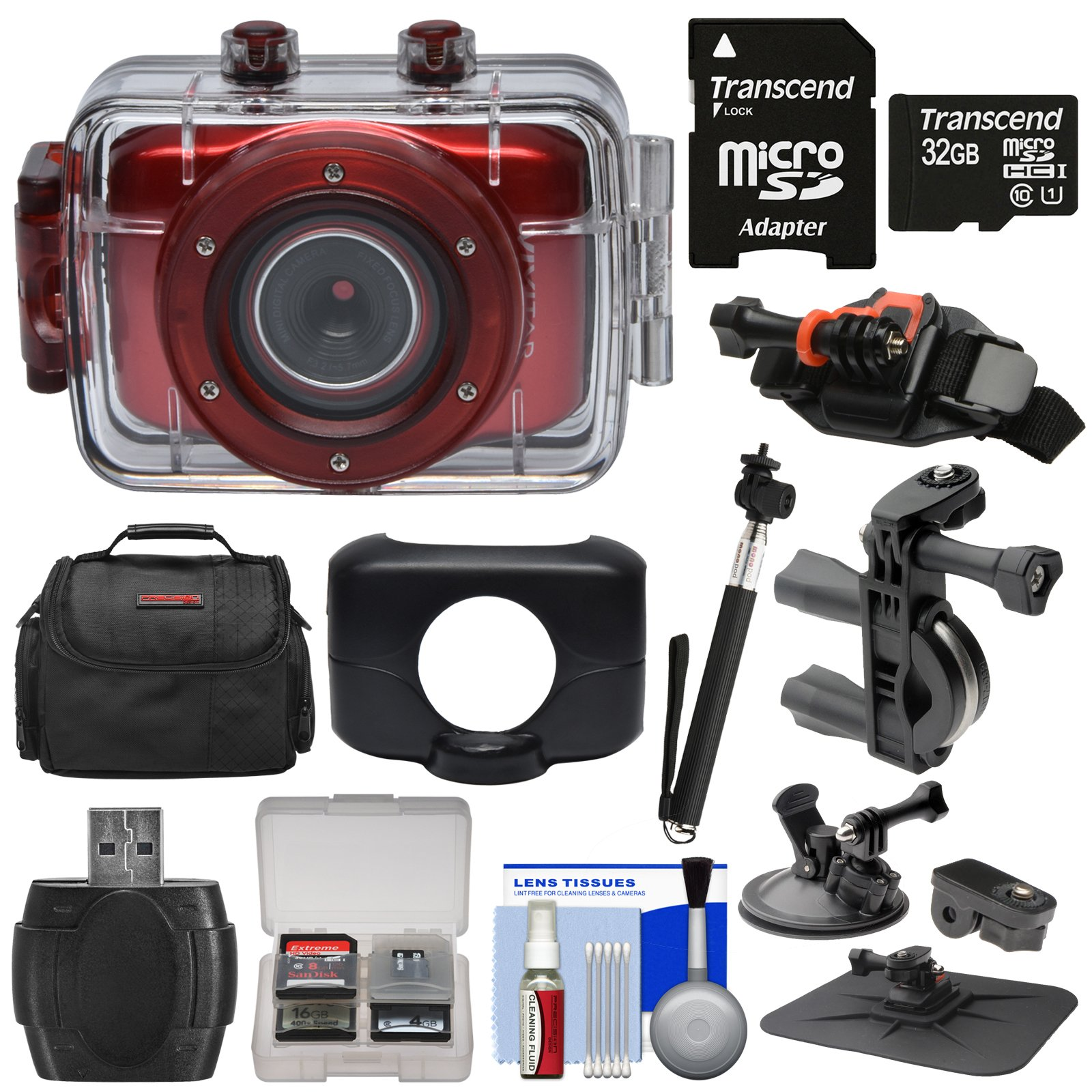 Vivitar DVR781HD HD Waterproof Action Video Camera Camcorder (Red) with 32GB Card + Suction Cup, Helmet, Bike & Dashboard Mounts + Case + Selfie Stick + Kit
