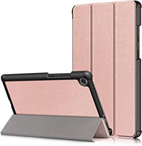 KuRoKo Lenovo Tab M8 Case 2019 TB-8505F TB-8505X Case, Slim Light Cover Trifold Stand Hard Shell Case Compatible with Lenovo Tab M8 HD (2nd Gen) TB-8505F / TB-8505X 2019 8.0 Inch Tablet (Rose Gold)