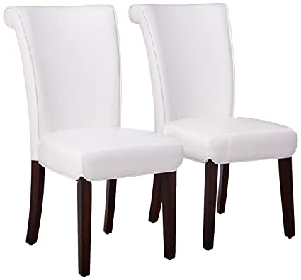 Beau Monarch Specialties Leather Look High Side Chair, 39 Inch, Taupe, Set