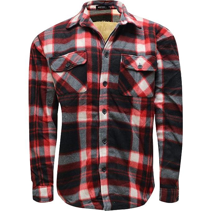 a2c719000a New Mens Shirt Polar Fleece Lined Thick Work Shirts Winter Warm M L XL XXL   Amazon.co.uk  Clothing