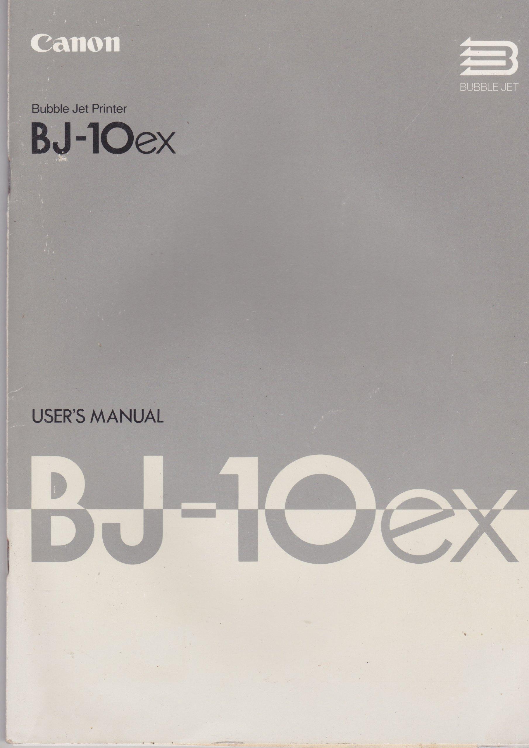 Canon BJ-10ex Bubblejet Printer User's Manual: Amazon.co.uk: Canon: Books
