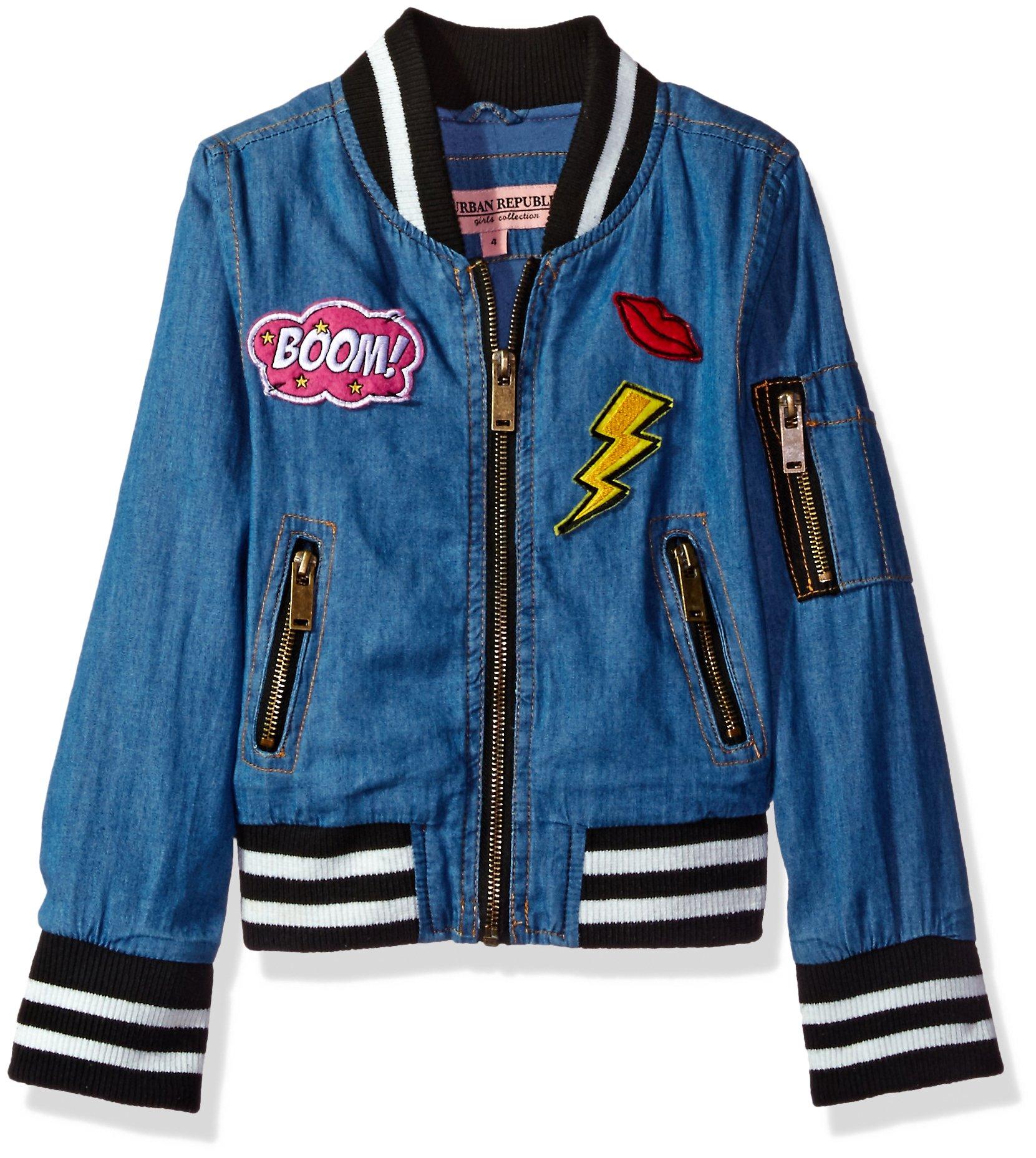 Urban Republic Little Girls' Chambray Bomber Jacket, Medium Wash, 6X