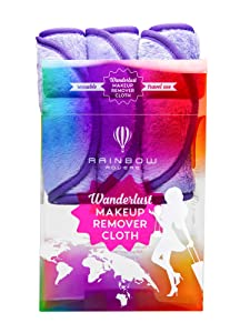 RAINBOW ROVERS Set of 3 Makeup Remover Wipes | Reusable & Ultra-fine Makeup Towels | Suitable for All Skin Types | Removes Makeup with Water | Free Bonus Waterproof Travel Bag | Wild Lavender