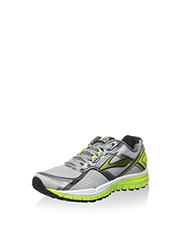 Brooks Men's Ghost 8 Metallic Charcoal/Lime Punch/Silver Running Shoe - 8.5  B