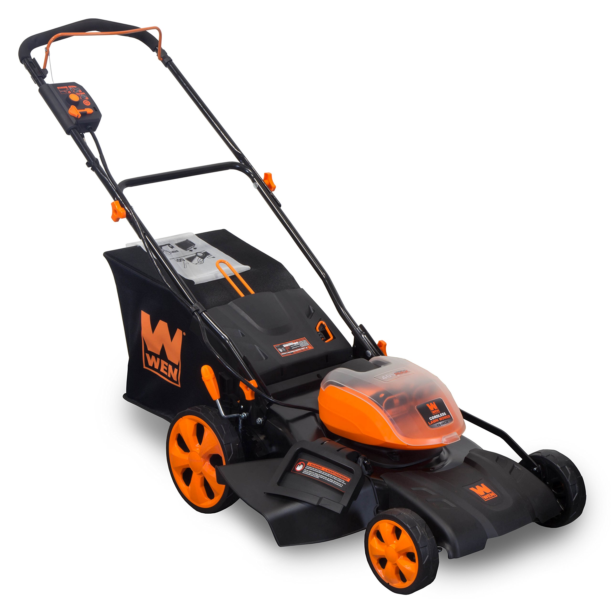 WEN 40439 40V Max Lithium Ion 19-Inch Cordless 3-in-1 Electric Lawn Mower with Two Batteries, 16-Gallon Bag and Charger 2 Includes one 4 amp-hour battery, one 2 amp-hour battery, one 16-gallon bag, one charger, and a two-year warranty Versatile 19-inch steel deck allows users to mulch, bag or use the side discharge door Adjust the cutting height between six different stops ranging from 1.5 to 4 inches